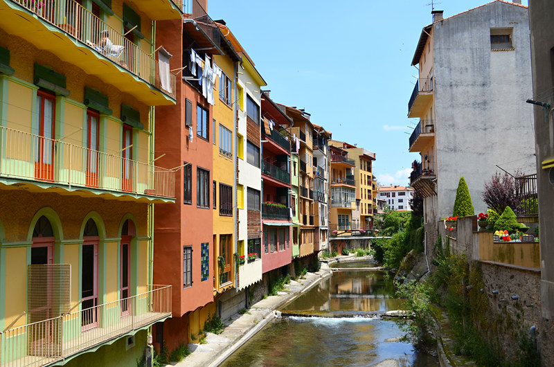 Colourful riverside houses, Camprodon, Pyrenees, Spain