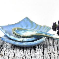 Set of 2 #handmade #ceramic dishes & #pottery  spoon.... available in my #Etsy & #Madeit stores Great for condiments and gift giving #etsyauseller #Etsyau  #shopmadeit  #madeitau  #madeinballarat  #aussielocalshopper  #craftsposure  #clay  https://www.ets