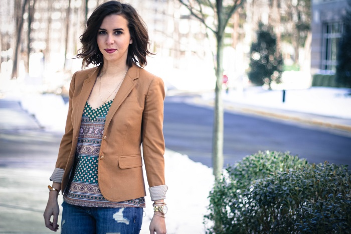 aviza style. andréa viza. fashion blogger. dc blogger. jcrew collection leopard calf hair heels. fashion. current elliott stiletto jeans. silk print cami. 7