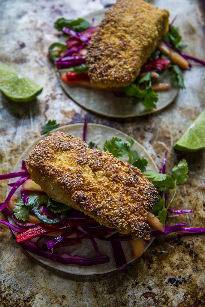 Cornmeal Crusted Halibut Tacos with Mango Slaw