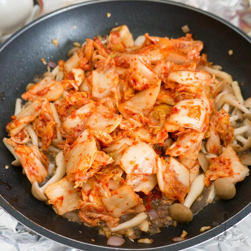 stir-fry the kimchi