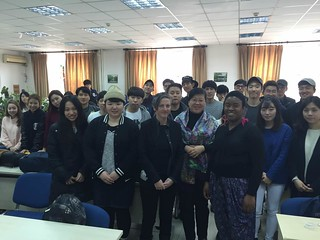 With Maxine Beneba Clarke, Prof Wang Jinghui and students at Tsinghua U. Pic by Aus embassy