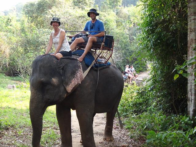 Us riding an elephant