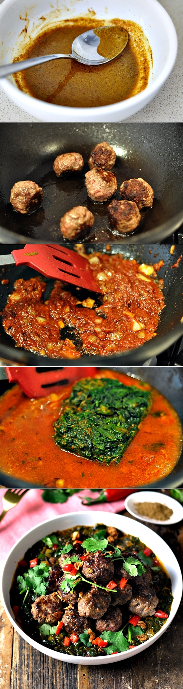 Beef Kofta Spinach Curry | www.fussfreecooking.com