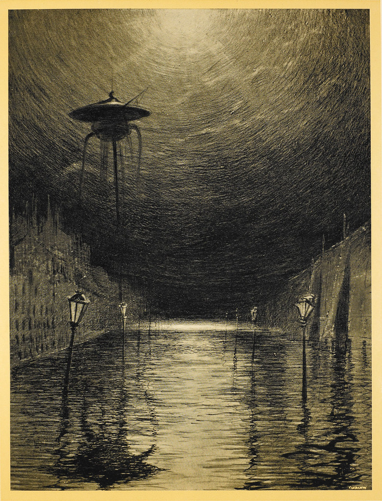 "HENRIQUE ALVIM CORRÊA -Martian Machine Over the Thames, from The War of the Worlds, Belgium edition, 1906 (illustration from Book II- The Earth Under the Martians, Chapter VII- ""The Man on Putney Hill,"") print version"