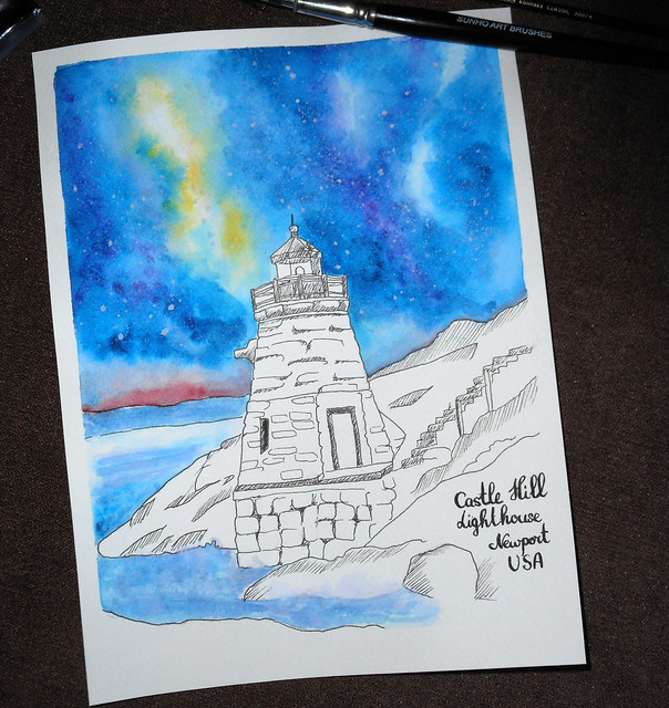Lighthouse and starry night