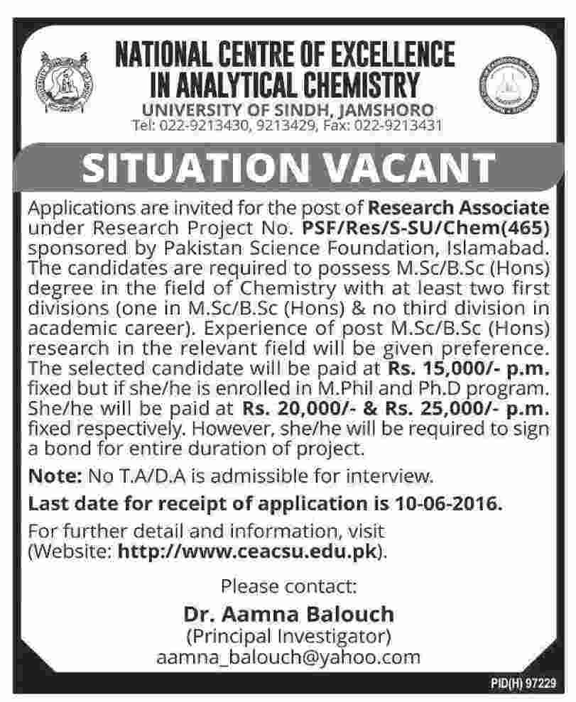 University of Sindh Jobs 2016