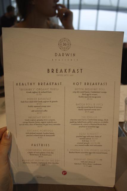 Menu at Darwin Brasserie, London