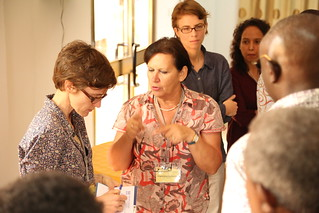 Irmgard Hoeschle-Zeledon (center) and Katrien Descheemaeker (Photo credit: IITA/Jonathan Odhong')