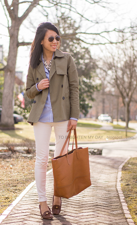 chunky pearl necklace, green swing trench, blue striped shirt, white jeans, brown loafers, brown cognac tote