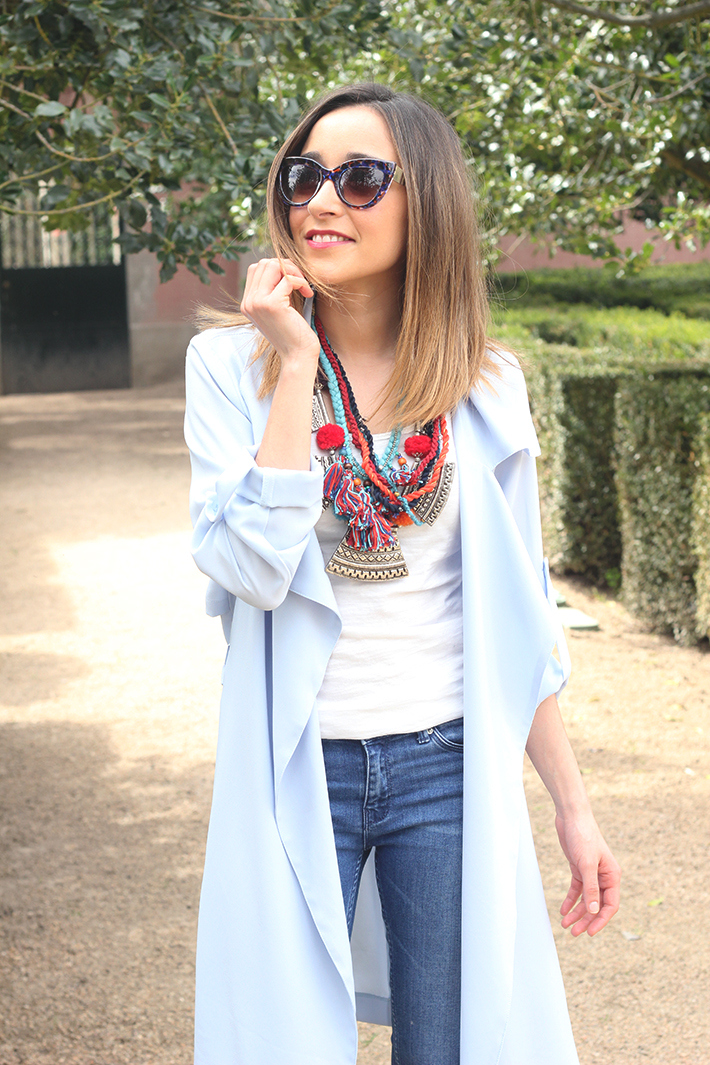 blue trench jeans zara fringe bag23