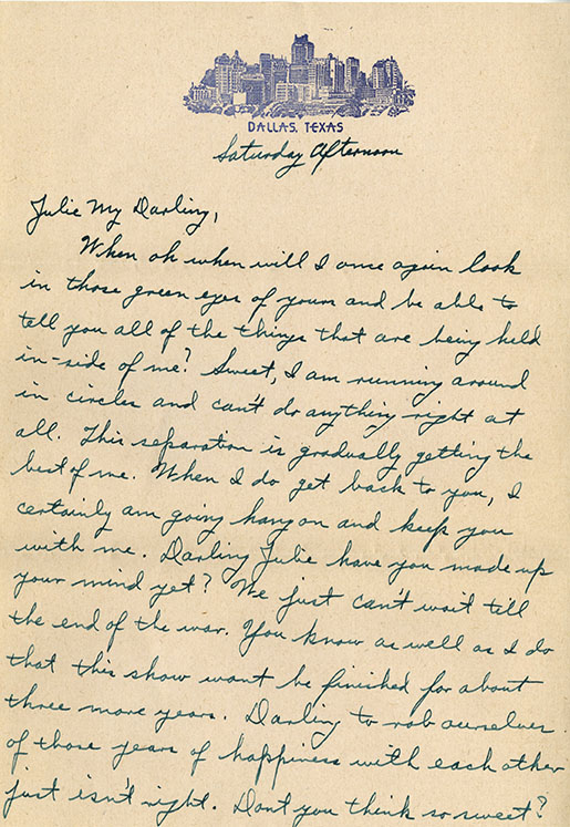 "Onnie Clem love letter to ""Julie"" Cecile Lorraine Julian, undated"
