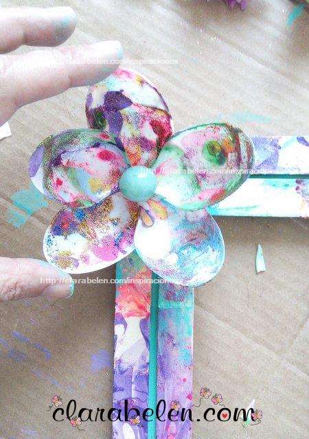 Como hacer un marco marmoleado con palos de polo abatelenguas