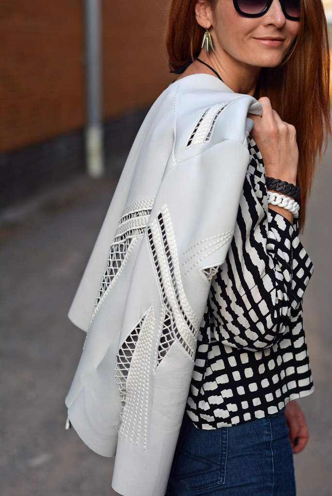 White cut out jacket, black and white boxy top