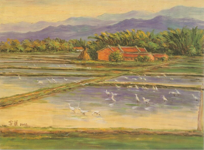 在我問東問西的過程中,母親拿出一張收藏的月曆紙說:「以前我們老家就長得像這樣,前面是田圃,後面是竹林、樹叢。和這畫太像了,所以一直留著」。那是2009年的月曆,黎蘭的油彩畫作。(影像掃瞄自月曆)台灣又有多少像這樣消失的美麗農村呢,而相似的故事仍在上演。