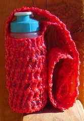 Pink Plarn Water Bottle Holder