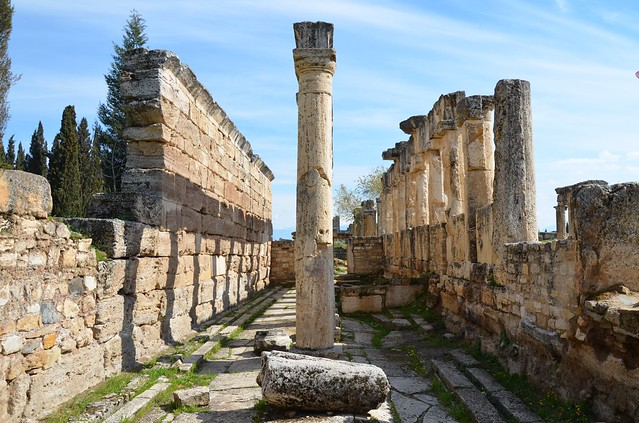 The latrine along Frontinus Street  (colonnaded street), the room is divided longitudinally by a row of columns that supported a roof composed of travertine blocks, built in the end of the 1st century AD, Hierapolis, Turkey