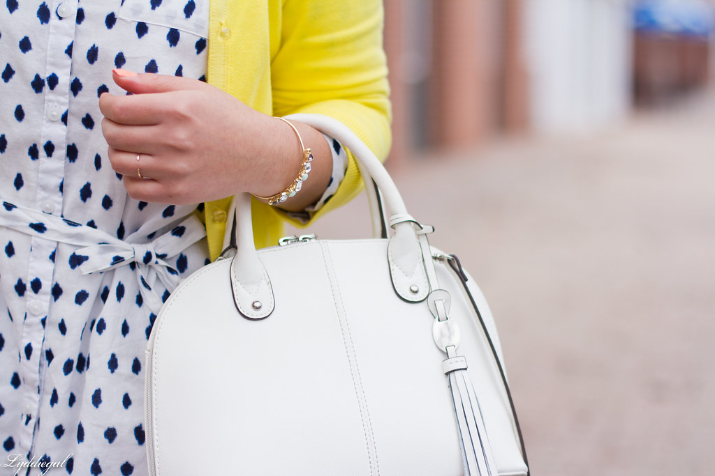 polka dot shirt dress, yellow cardigan, silver pumps-6.jpg