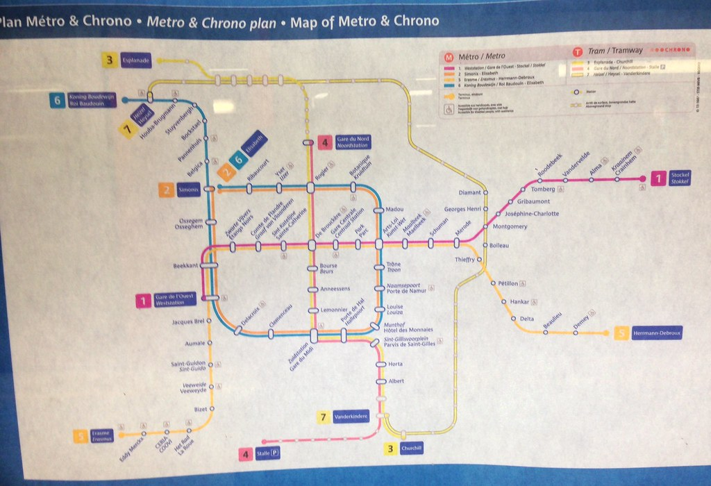 Brussels Metro map (4/15) | Brussels Metro map with the tram ...