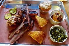 three meat plate at Black Bark BBQ