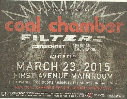 03/23/15 Coal Chamber/ Filter/ Combichrist/ American Head Charge @ First Avenue, Minneapolis, MN