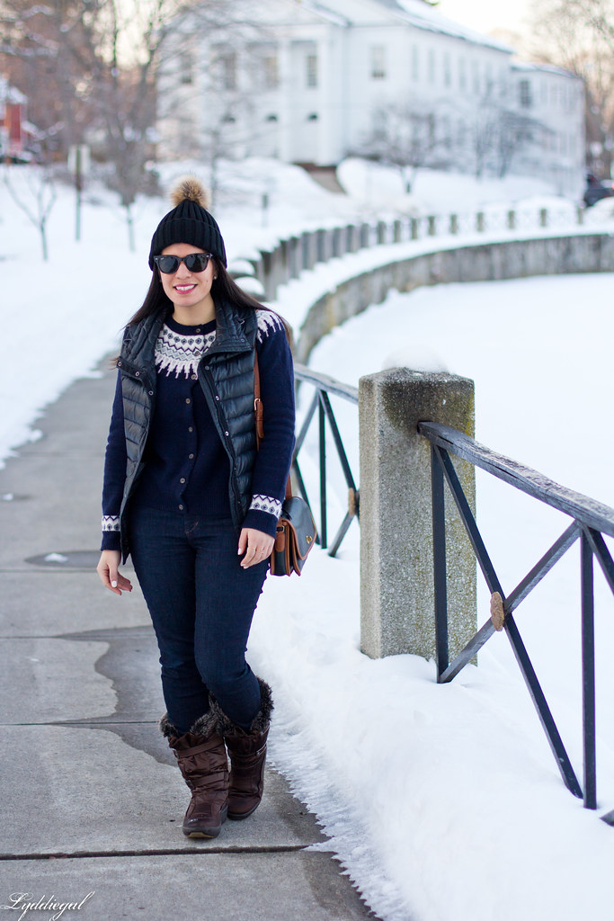 fair isle sweater, puffer vest, pom pom hat.jpg