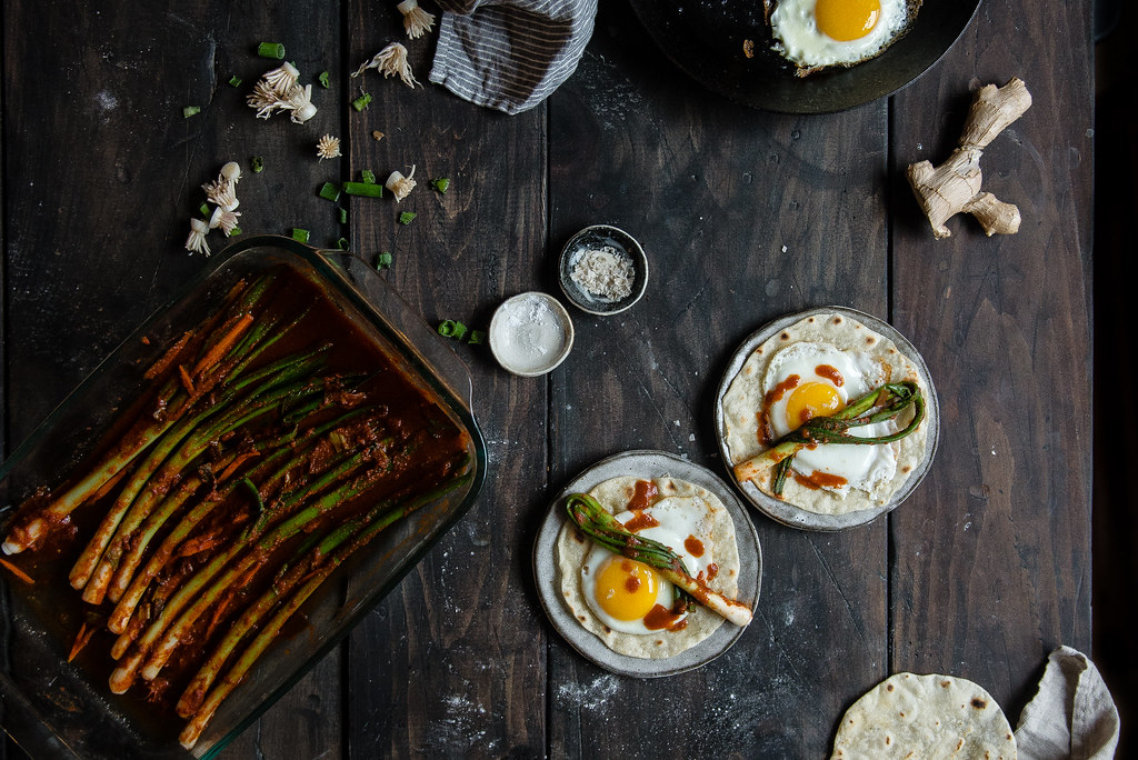 scallion kimchi & fried egg tortillas | two red bowls