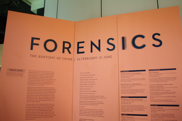 Forensics exhibition at Wellcome Collection, London