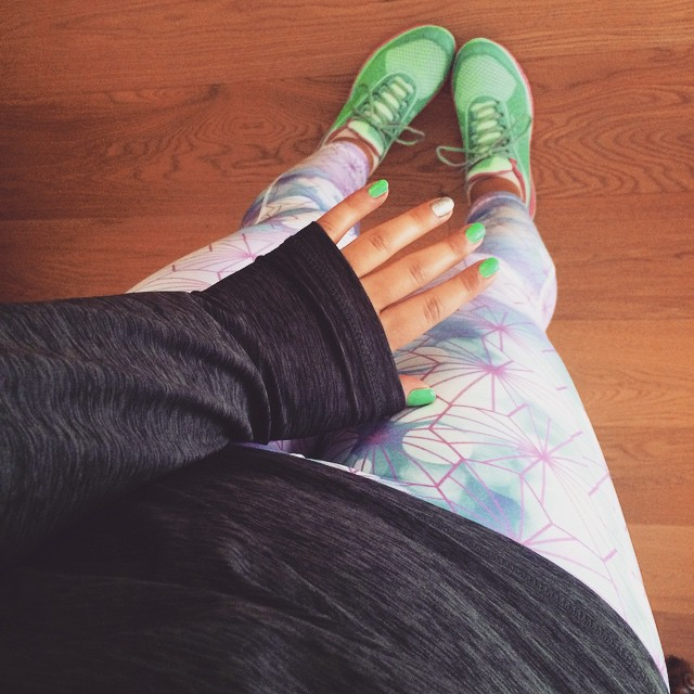 I'm tired. My knee hurts. My hip hurts. But my @hellyhansen trainers match my nails and it's still all about these epic tights. #thisgirlcan