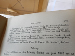 """The top of a page from a book, headed """"Proceedings"""" and beginning: """"September 14th.—Robert H. Davies, F.I.C., The Laurels, Culverden Road Balham, S.W.  George Ashby Lean, 51, London Road."""