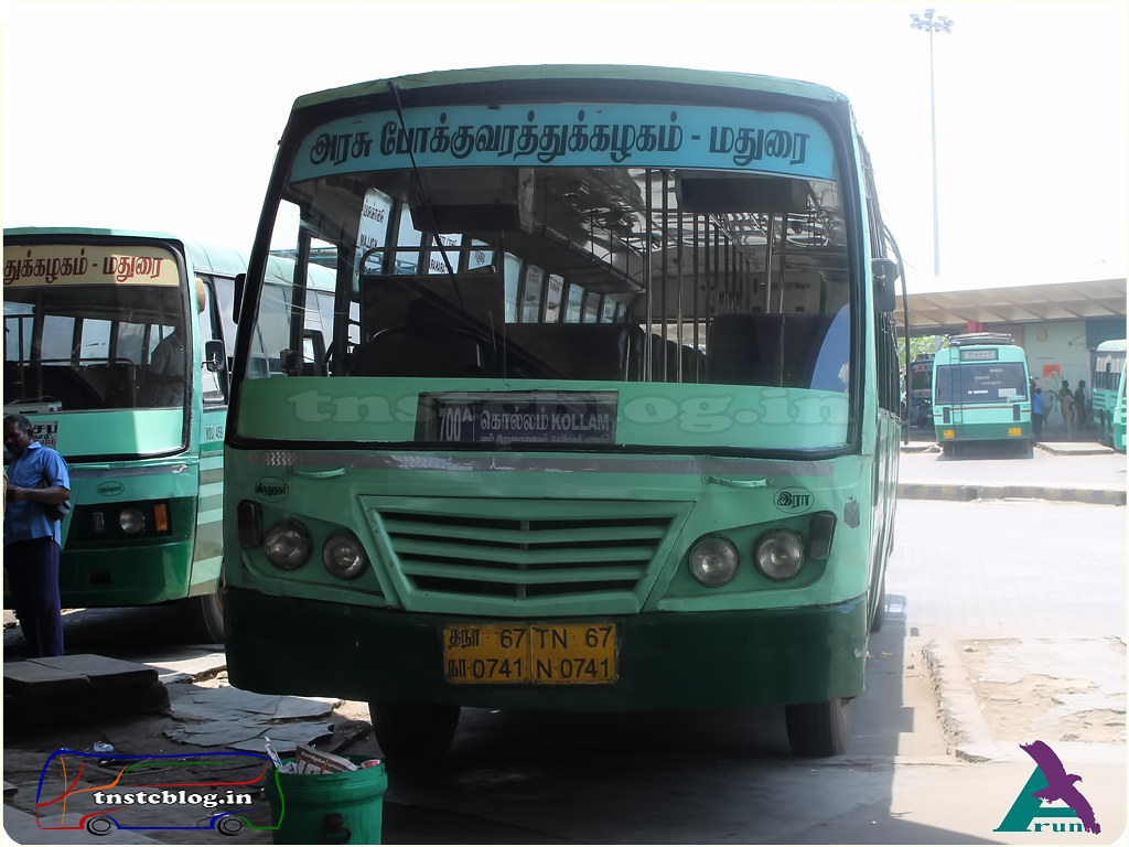 TN-67N-0741 of Rajapalayam Depot Route 700 A Madurai - Kollam via Rajapalayam, Tenkasi, Sencottah, Punalur, Kottarakara.