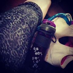 New leopard print workout pants! Also bored and waiting for @bergmann620 to finish his basketball game. #gymshenanigans