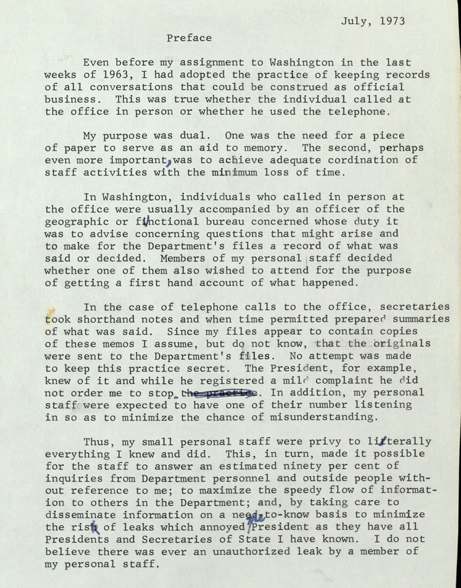 Preface to Telephone Conversation Memos, 1973
