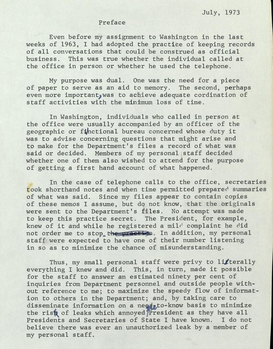 Preface to Telephone Conversation Memos, 1973