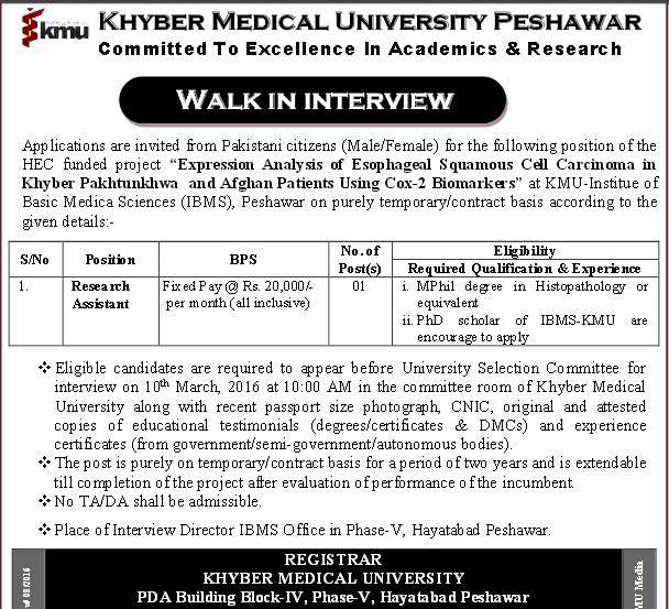 Khyber Medical University Peshawar Research Assistant Required