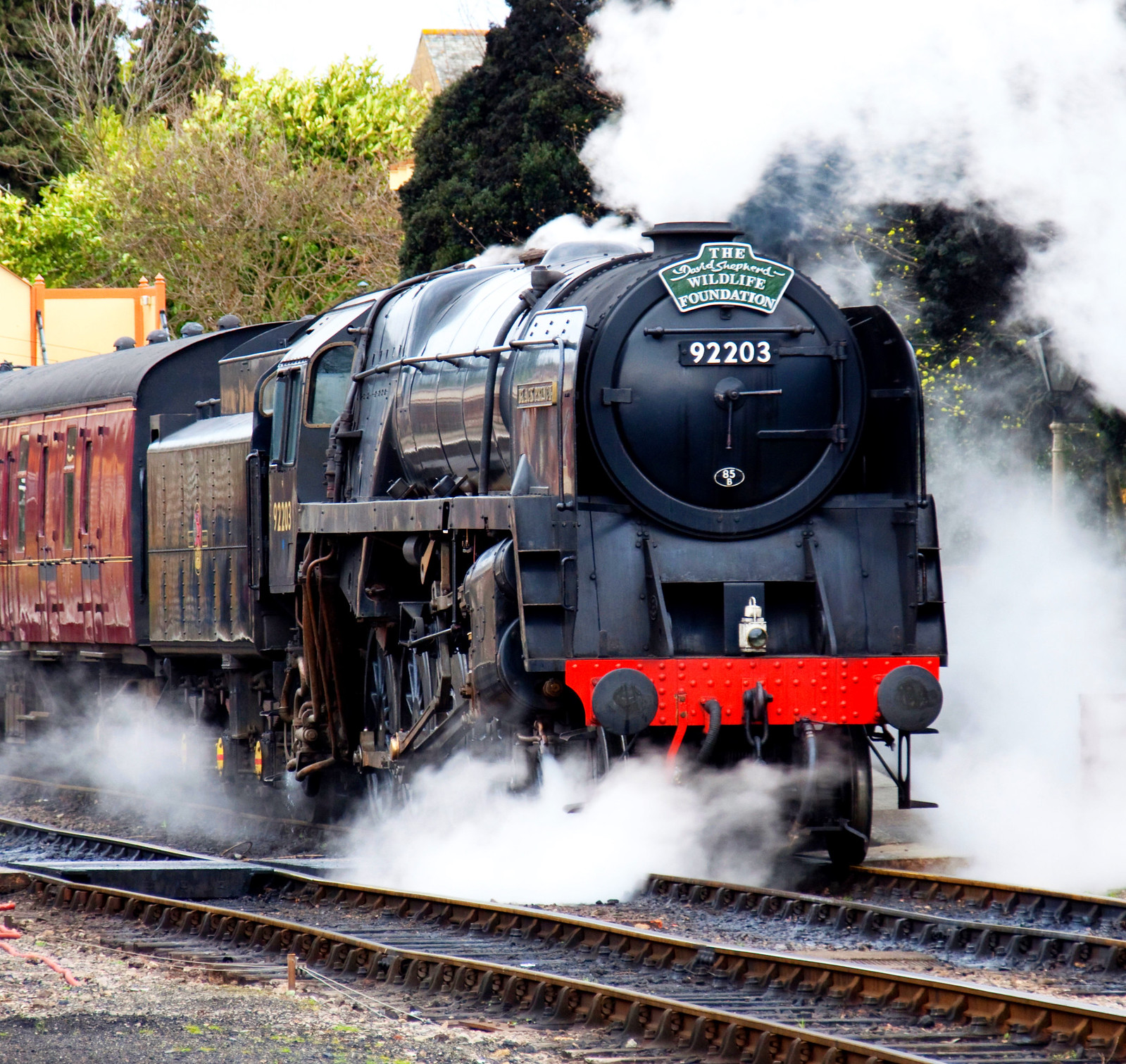 Steam locomotive 92203 at Toddington on the Gloucestershire and Warwickshire Railway