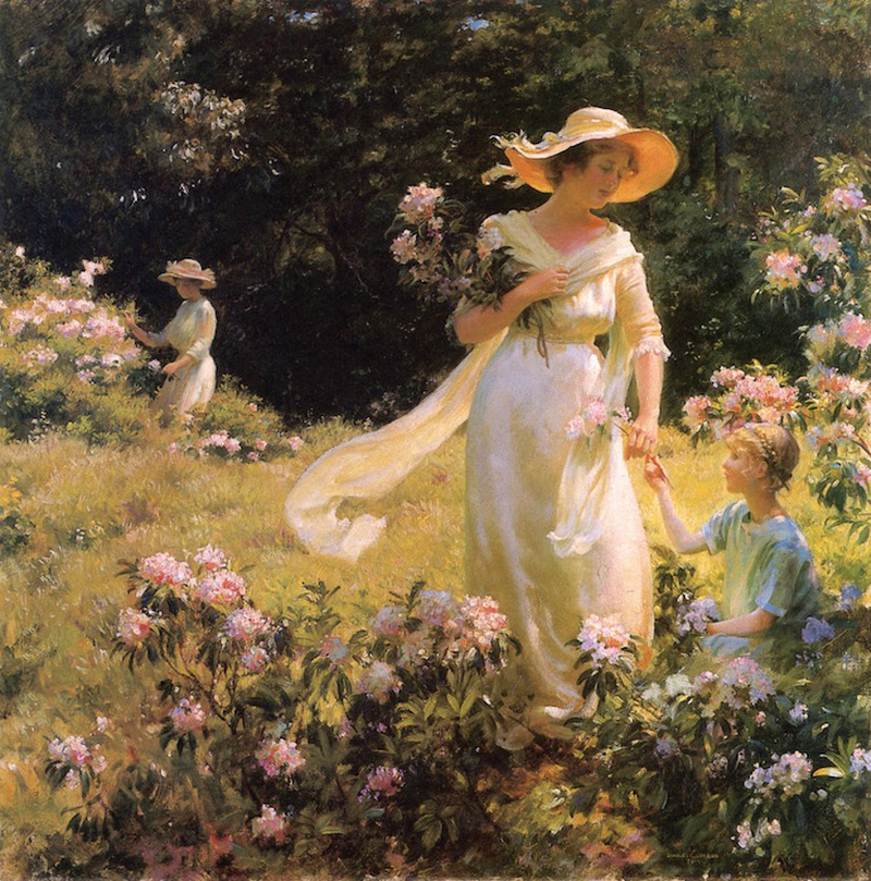 Among the Laurel Blossoms by Charles Courtney Curran - 1914