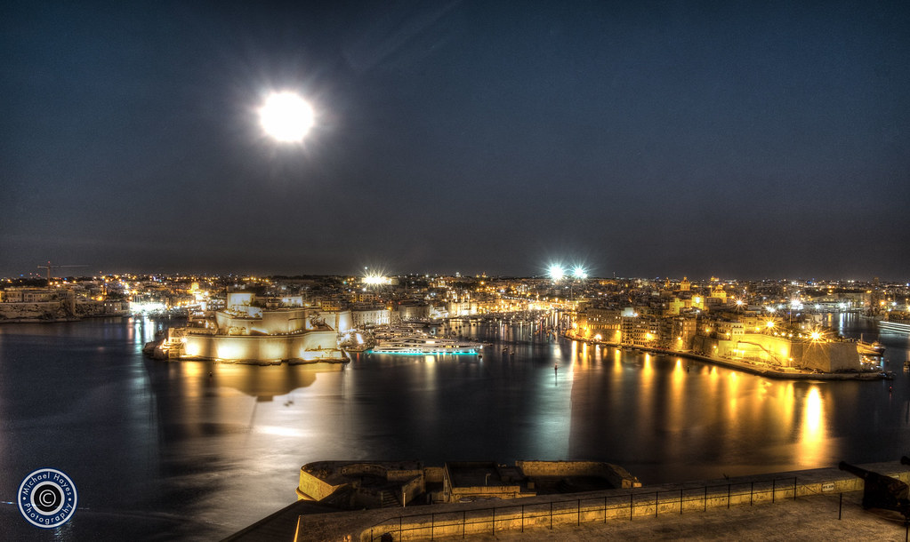 Moon over Grand Harbour