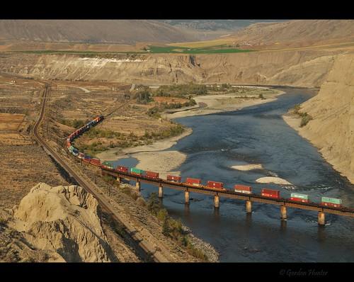 railroad travel bridge canada train river landscape bc desert tracks rail railway dry gordon hunter shipping ashcroft thompson arid containers