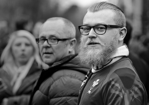 street uk portrait urban bw white man black male monochrome face wales beard photography prime mono glasses nikon eyecontact looking candid cymru cardiff streetphotography 85mm caerdydd nikkor unposed spectacles 18d primelens d7000 justard justardcom