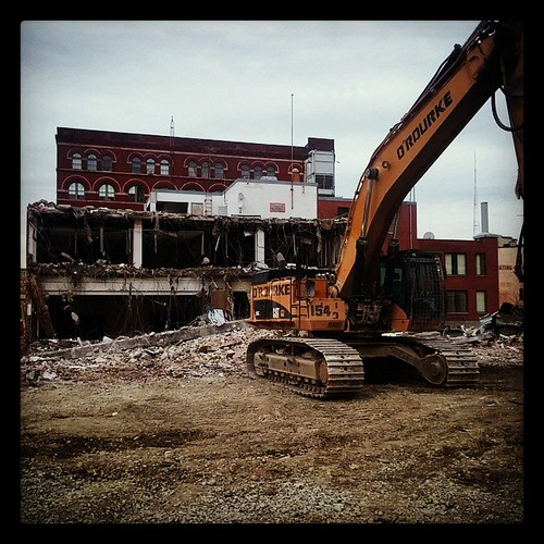 They've begun tearing down the old Red Cross Building at Sycamore and Eighth Streets in downtown Cincinnati...