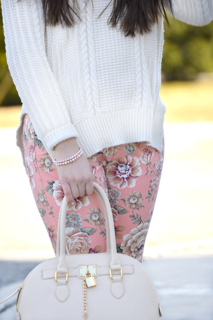 floral pants and sweater