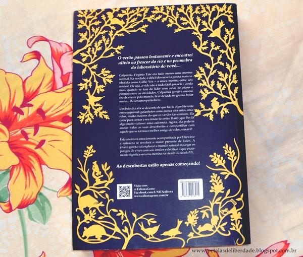 Contracapa e sinopse - livro A evolução de Calpúrnia Tate, Jacqueline Kelly