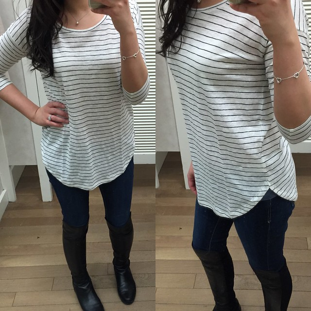 Ann Taylor striped Shirttail Tee, size XS