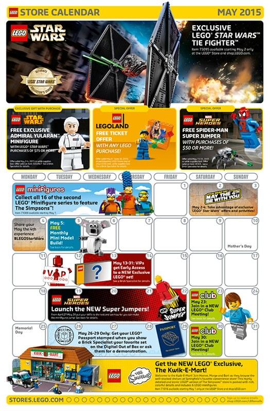 LEGO Shop May 2015 Calendar