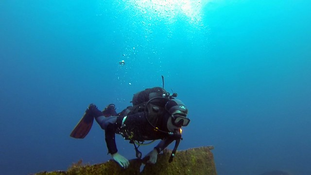 Diver chilling at the wreck