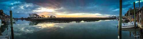 trees sky panorama reflection sc nature water clouds docks sunrise boats pano southcarolina boating marsh ios saltwater iphone goatisland murrellsinlet cameraapp iphone6plus