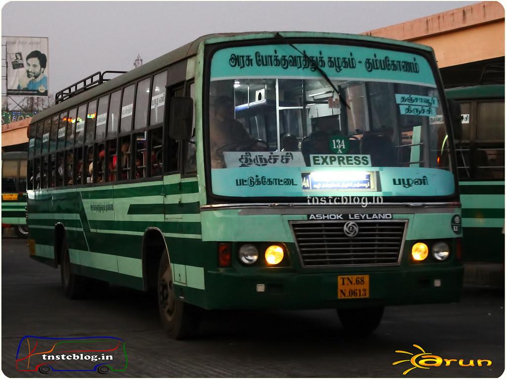 TN-68N-0613 of Pattukottai Depot Route 134A Pattukottai - Palani via Tanjore, Trichy, Dindigul, Ottanchatiram.