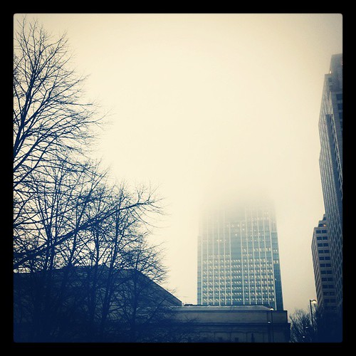 It was a pretty foggy morning in downtown Cincinnati. You couldn't even see the tiara atop Great American Tower...