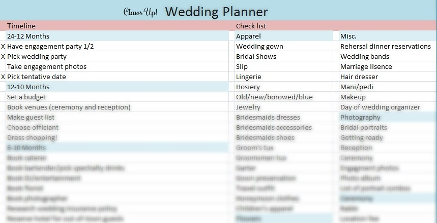 Wedding planner timeline and checklist